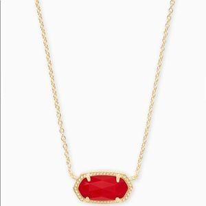 Kendra Scott Elisa Gold Pendant with Bright Red